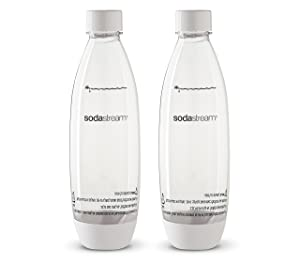 2 pack original Sodastream Source white carbonating reusable water bottles 1 liter BPA-free / fits only - Play, Splash, Source, Power, Spirit and Fizzi soda makers