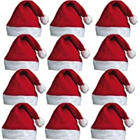 REDSTAR FANCY DRESS 12 x Santa Hats - Father Christmas Red Santa Hats with Bobble for Xmas Office Parties