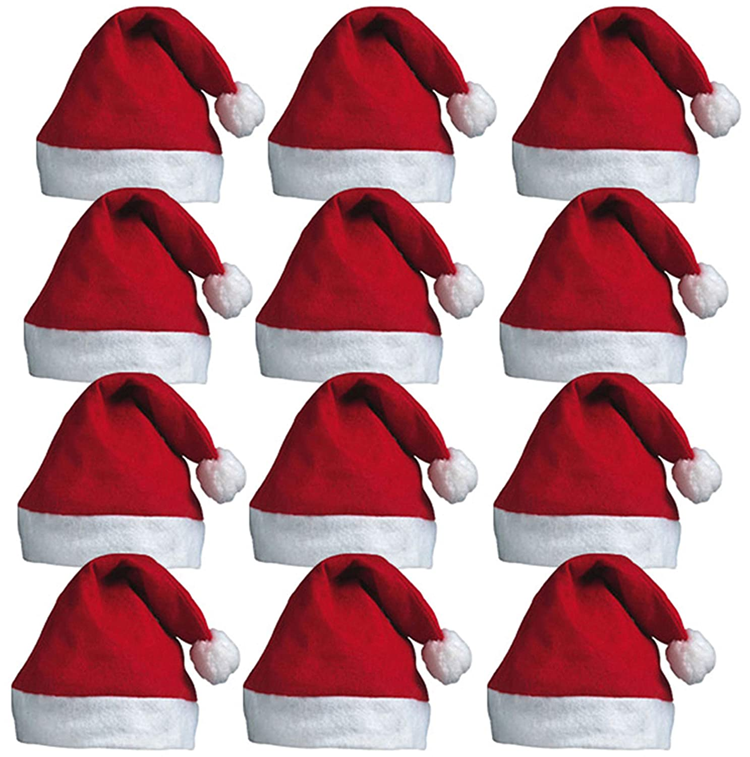 511a54be3 REDSTAR FANCY DRESS 12 x Santa Hats - Father Christmas Red Santa Hats with  Bobble for Xmas Office Parties
