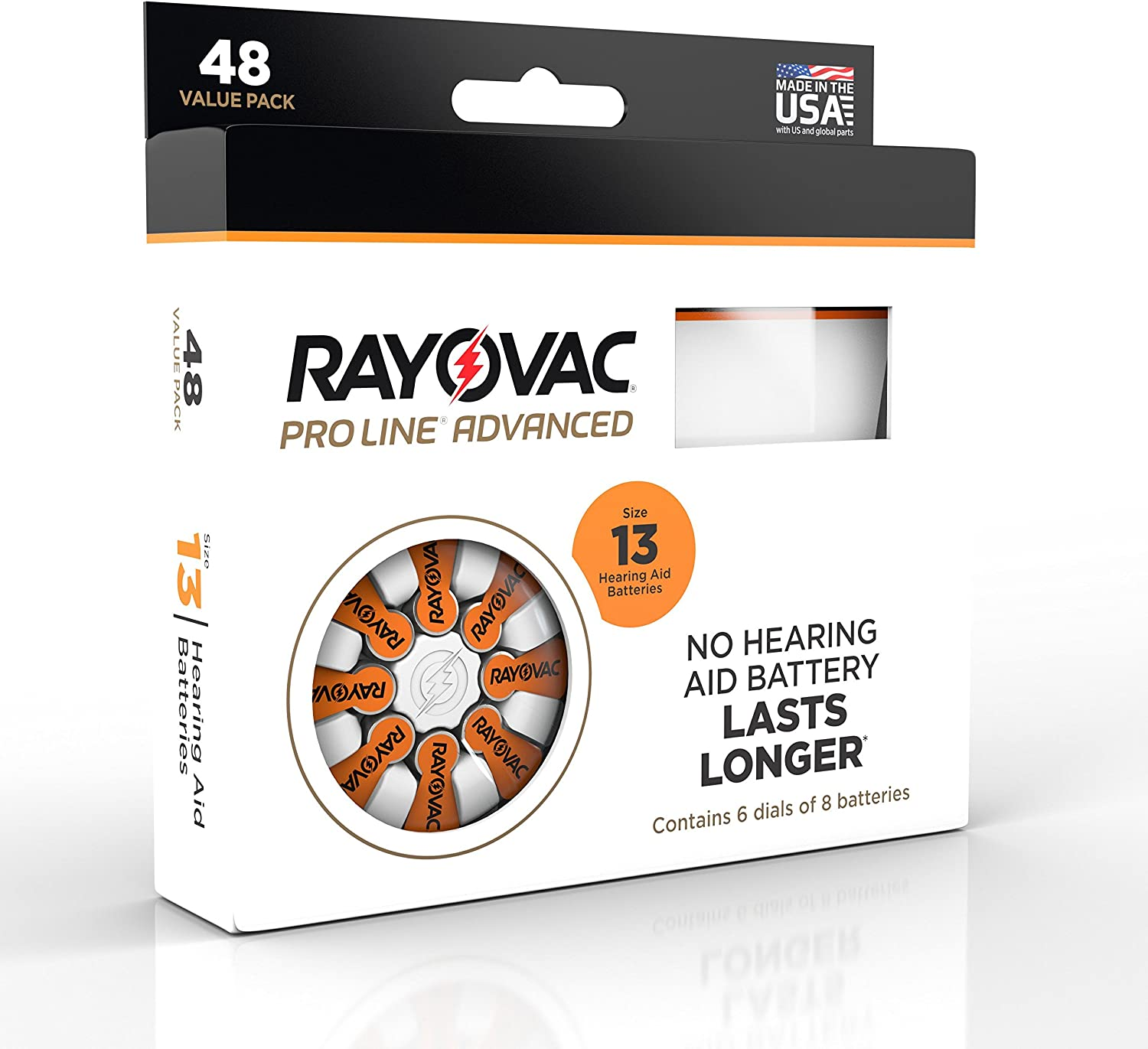 Rayovac Proline Advance Hearing Aid Batteries, Size 13(48 count)