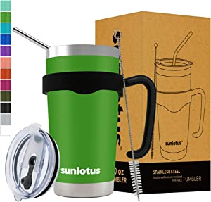 Sunlotus 20 oz Stainless Steel Tumbler Double Wall Vacuum Insulated Travel Coffee Mug,Cup with Splash Proof Lid,Straw,Handle,Straws Brush(Green)