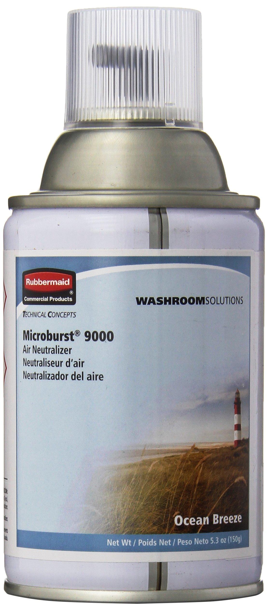 Rubbermaid Commercial Standard Air Freshener Aerosol Refill for Microburst 9000, Ocean Breeze, FG4012471