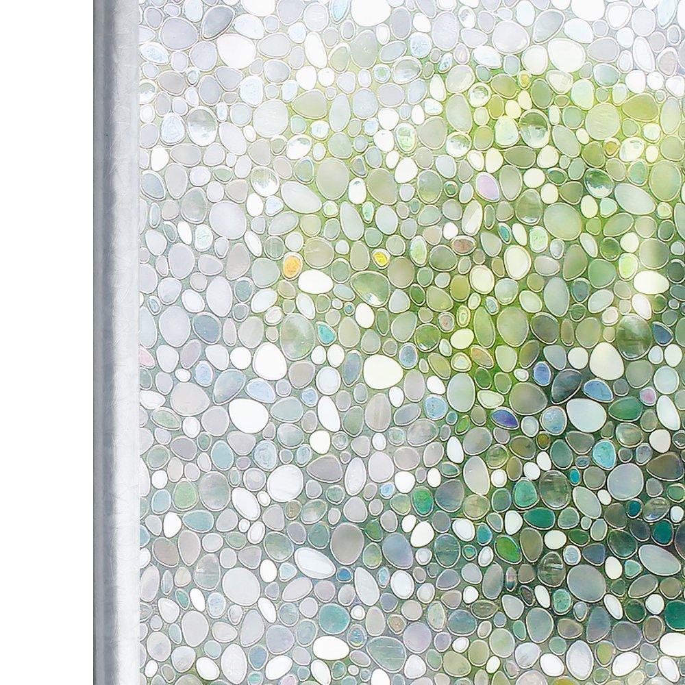 Homein Window Film Decorative Glass Films 3D Rainbow Window Sticker Static Cling No Glue & Self Adhesive Privacy Door Windows Stickers Artscape Window Tint for Bathroom Decoration, Heat Control & Anti UV, Pebble Pattern, 17.5in*78.7in (44.5 x 200cm