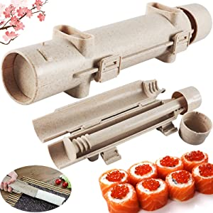 Sushi Roller Bazooka Durable Camp Chef Food Grade Plastic Health and Safety Rice Vegetable Meat DIY Machine Mold for Easy Cooking Sushi Rolls Best kitchen Tool Maker Tube (wheat)