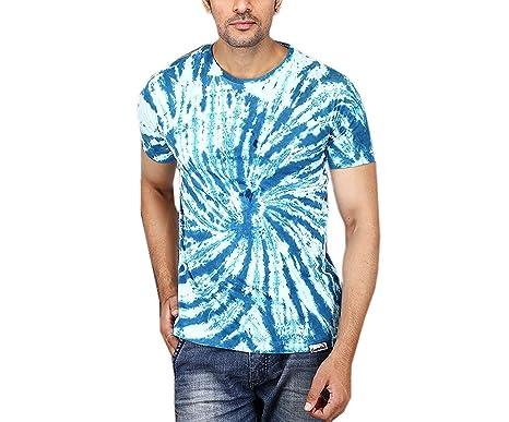 Gazelles Men\'s Cotton Tie-Dye Cool Spiral Design Round Neck Half ...