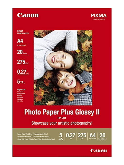 84 opinioni per Canon PP 201 Photo Paper Plus Glossy II, 20 fogli A4 Carta fotografica