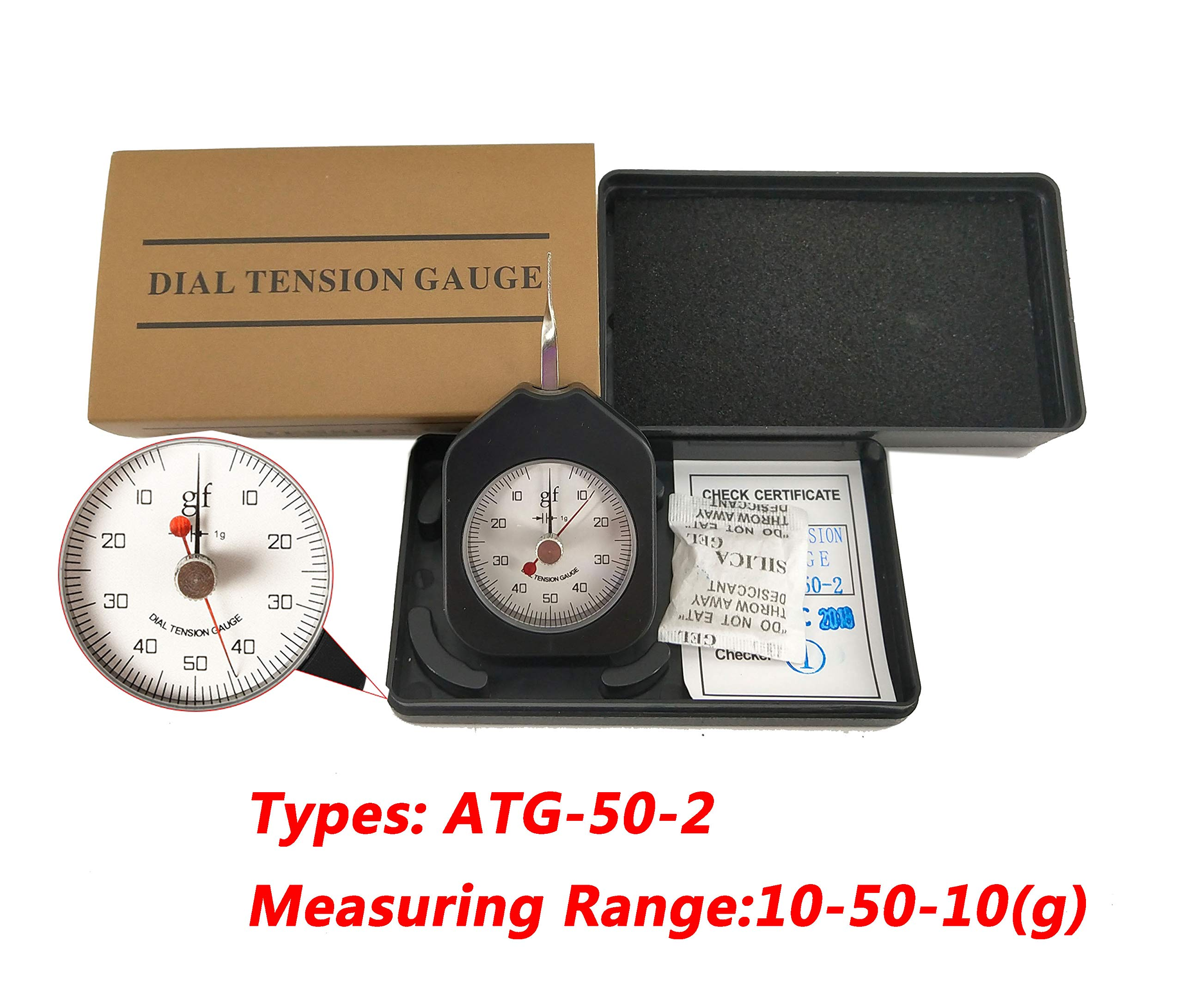 HFBTE ATG-50-2 Double Pointer Dial Tensionmeter with Pocket Size Tension Meter Tester Gauge 50g Max Measured Value by HFBTE