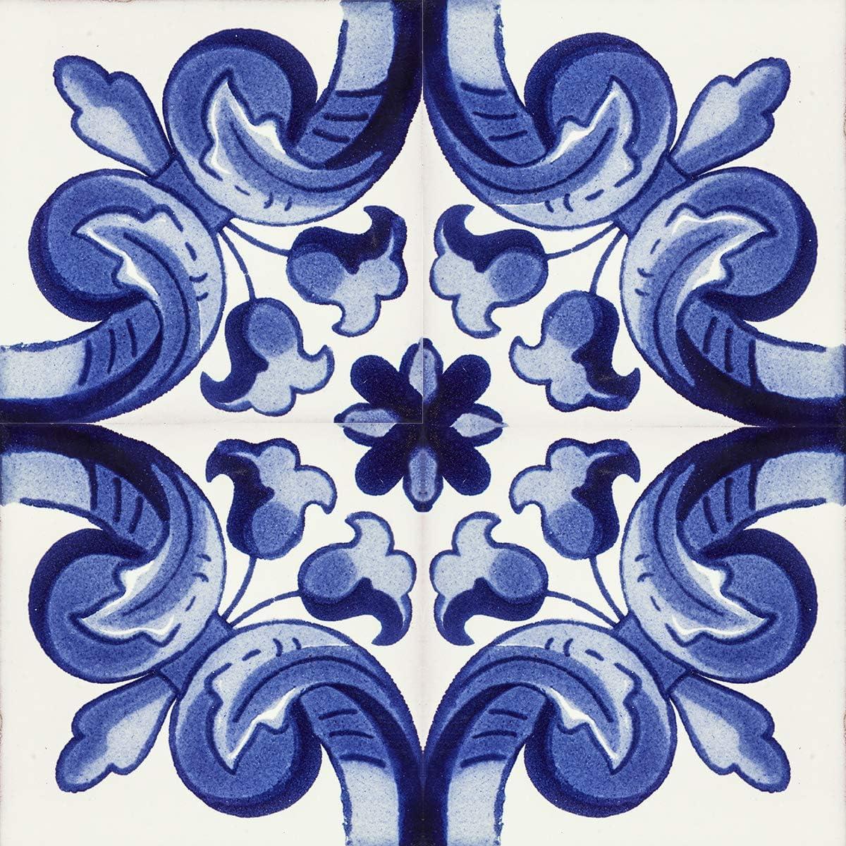 Azulejos azules de talavera de 10 x 10 cm Paquete de 30 azulejos Cerames Asturia