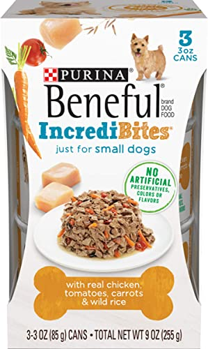Purina Beneful Small Breed Wet Dog Food, IncrediBites With Chicken – 8 Packs of 3 3 oz. Cans