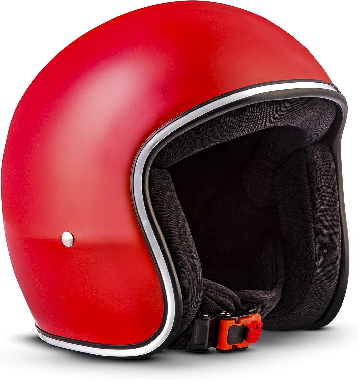 "Rebel /· R2 /""Flakes Silver/"" Silber /· Jet-Helm /· Chopper Roller Scooter-Helm Retro Motorrad-Helm Mofa /· Fiberglass /· Extra small Shell /· Click-n-Secure/™ Clip /· Tragetasche /· L 59-60"