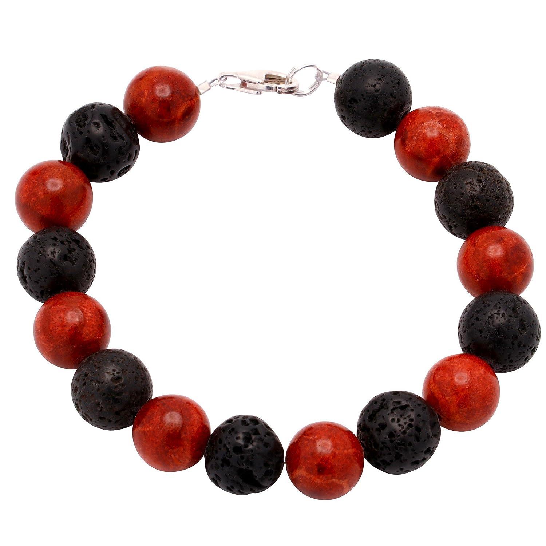 Kugel schwarz-rot Armschmuck Armband Koralle Schaumkoralle /& Lava /& 925 Silber