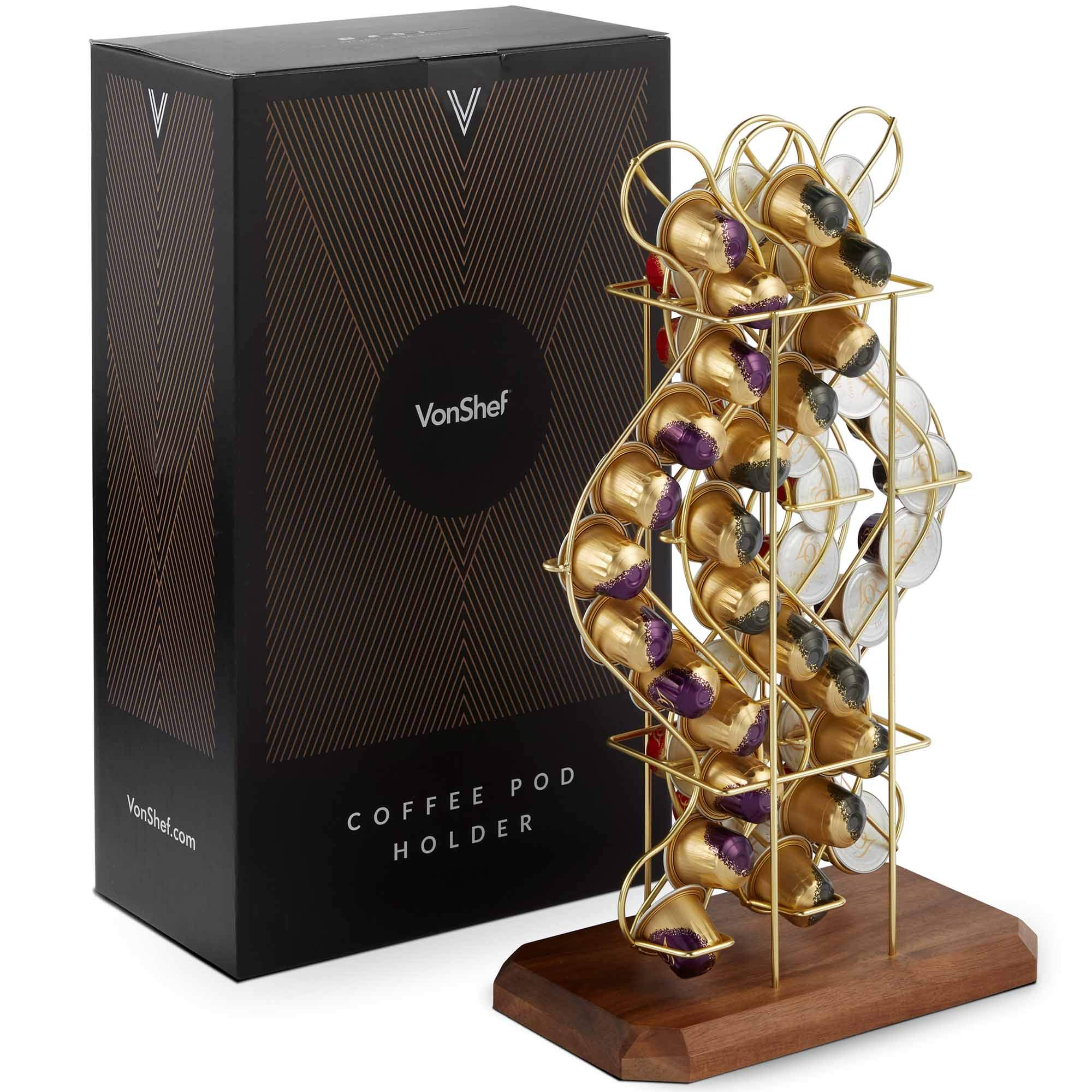 VonShef Coffee Pod Holder Stand Compatible with Nespresso Capsules Storage Holds 48 Pods Decorative Brushed Gold Stainless Steel Wire Rack Tower with Rotating Holder Revolving Wooden Base