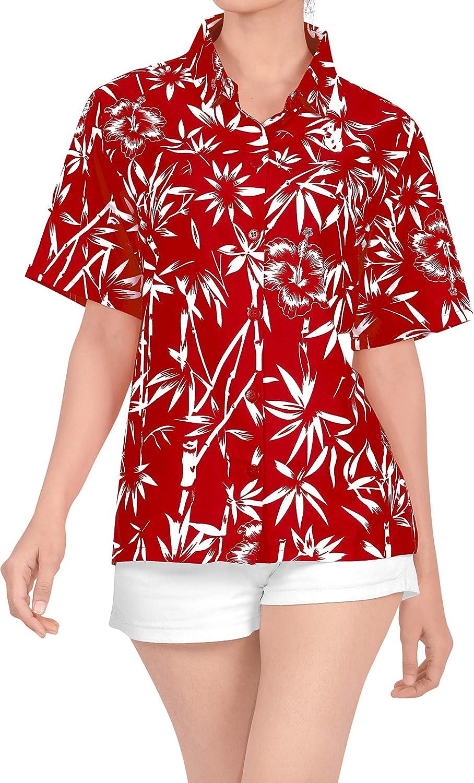 Trajes de ba�o de Cuello Blusa Superior a Encubrir la Camisa Hawaiana BOT�n de Manga Corta hacia Abajo Damas