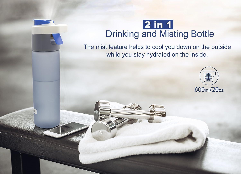 2in1 botella y pulverizador 600ml de tritan completo con tapa y cierra