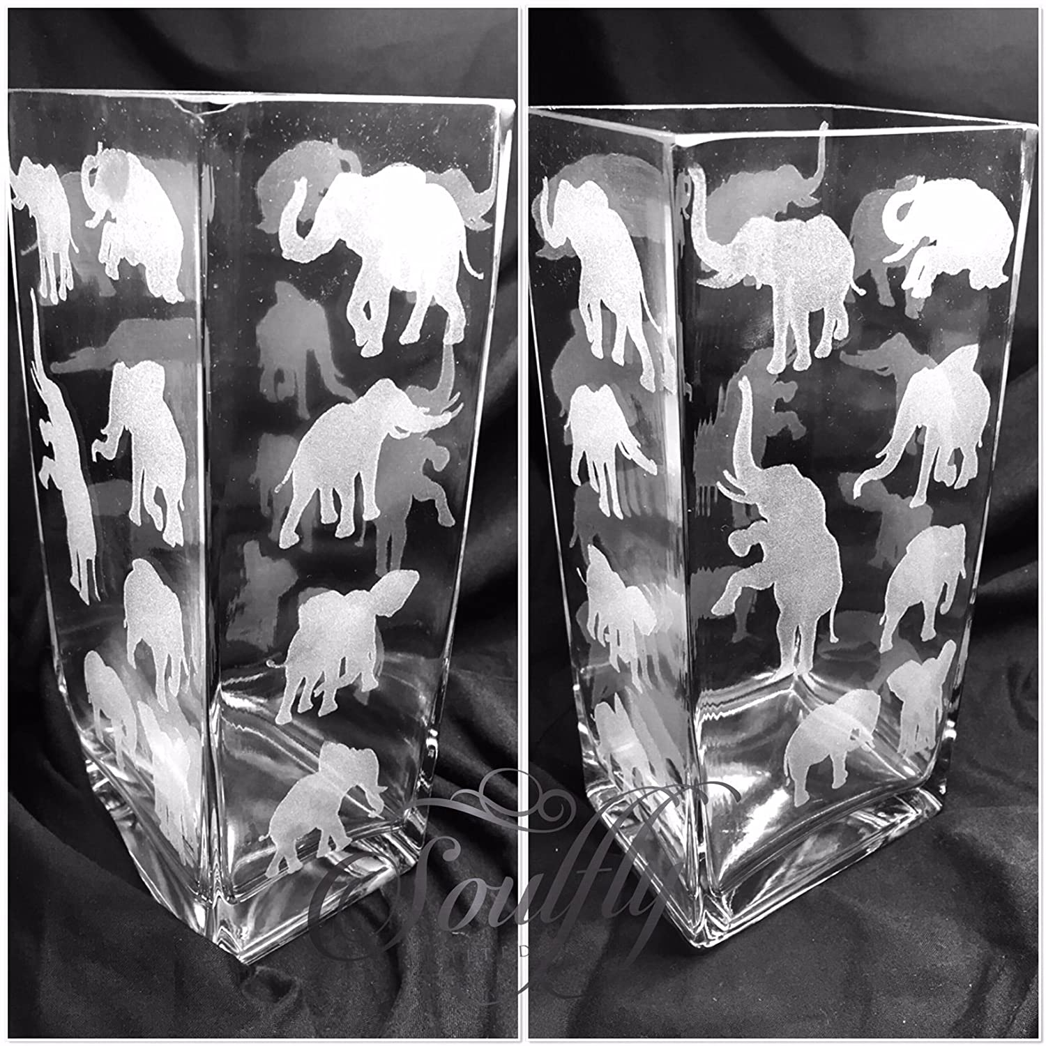 MOTHER DAY ELEPHANT SILHOUETTE ENGRAVED GLASS TANK VASE - PERSONALISED FREE Engraved, etched glass personalised FREE gift, wedding, birthday, mother, father, anniversary, present, Mr & Mrs, engagement, day, MEMORIAL