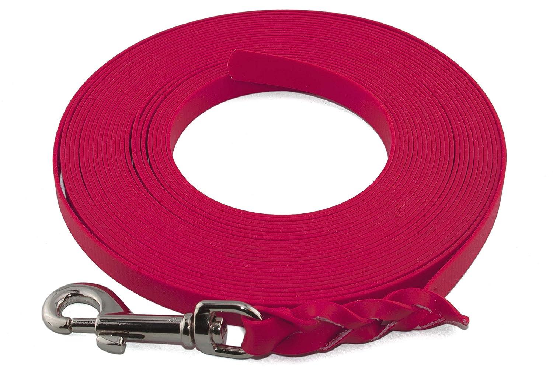 LENNIE Traino Traino Traino guinzaglio extra leggero in BioThane Super Flex da 16 mm 1-30 metri [30 m] 6 colorei [rosa neon] intrecciato senza cinturino a mano 74c1db