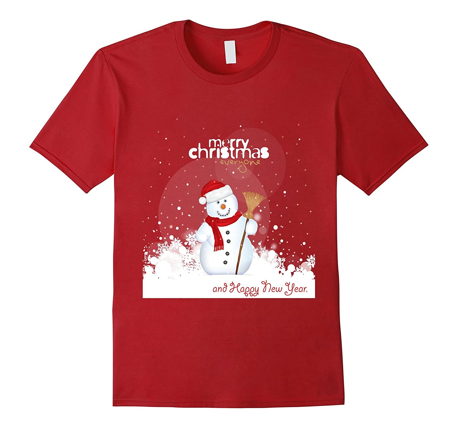 Merry Christmas and Happy new year T-shirt Funny Snowman tee-TD