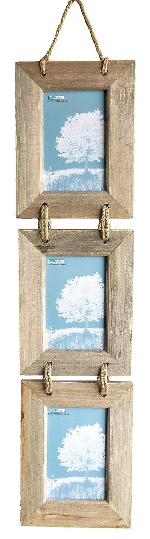 Marco de fotos triple, de madera, diseño rústico, para colgar, 10 x 15,5 cm: Amazon.es: Hogar