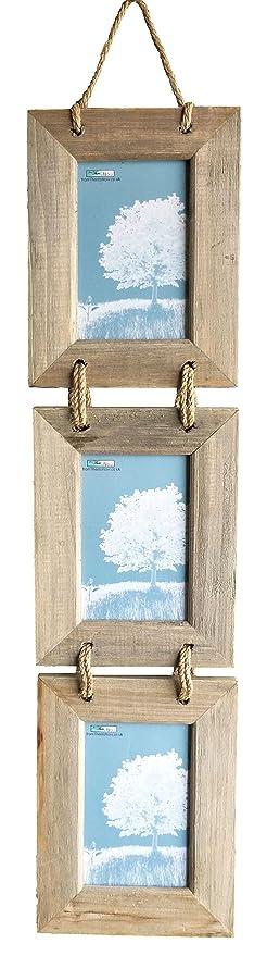 Marco de fotos triple, de madera, diseño rústico, para colgar, 10 x