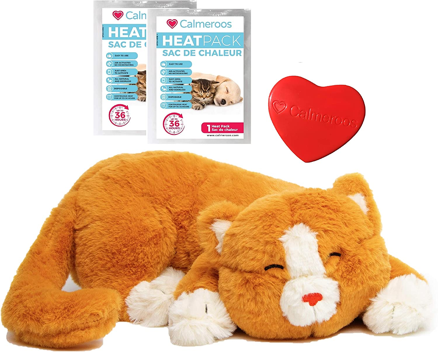 Amazon Com Calmeroos Kitty Heartbeat Toy Sleep Aid With 2 Long Lasting Heat Packs Last 36 Hours Each Kitten Puppy Anxiety Relief Soother Cats And Dogs Cuddle Snuggle Calming Behavioral Aid For Pets
