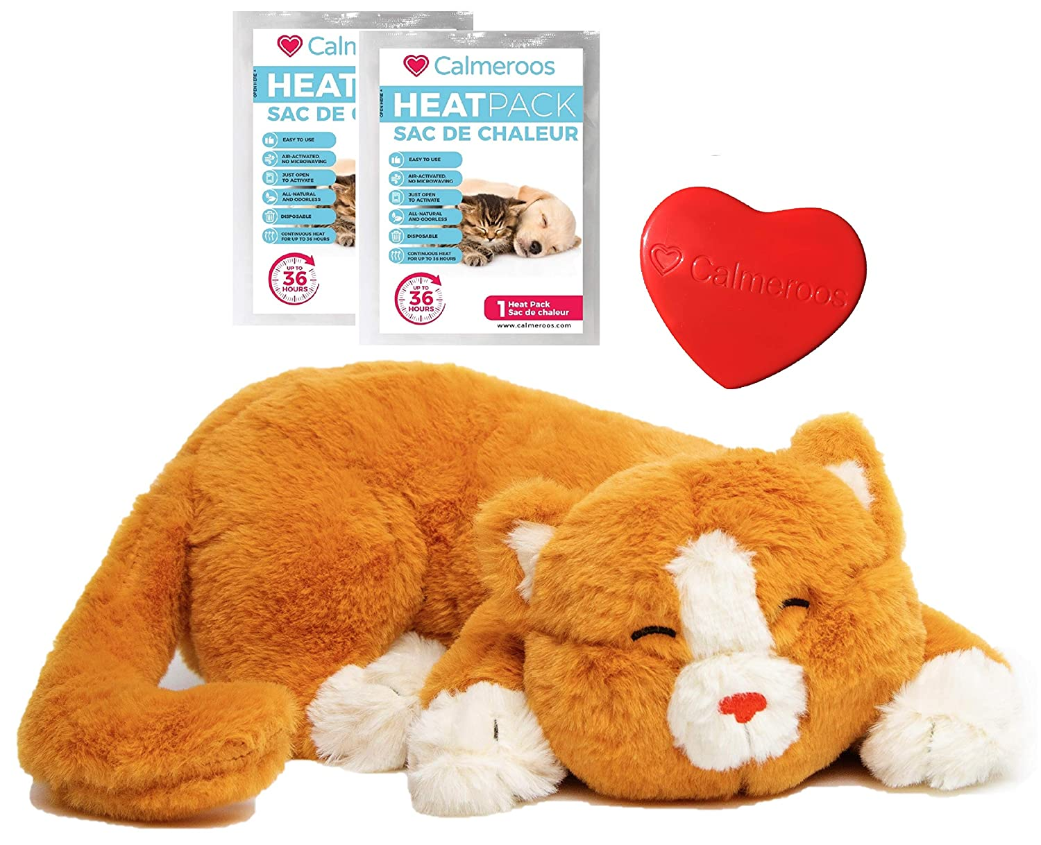 Calmeroos Kitty Heartbeat Toy Sleep Aid For Smart Pets Who Love To Snuggle And 2 Heat Packs Kitten Anxiety Relief Soother For Cats Puppy Cuddle Calming Behavioral Aid For Pets Amazon In Pet