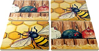 product image for Chickens and Honey Bees Coasters - Original Paintings by Christi Sobel - Set of 4 Wooden Coasters
