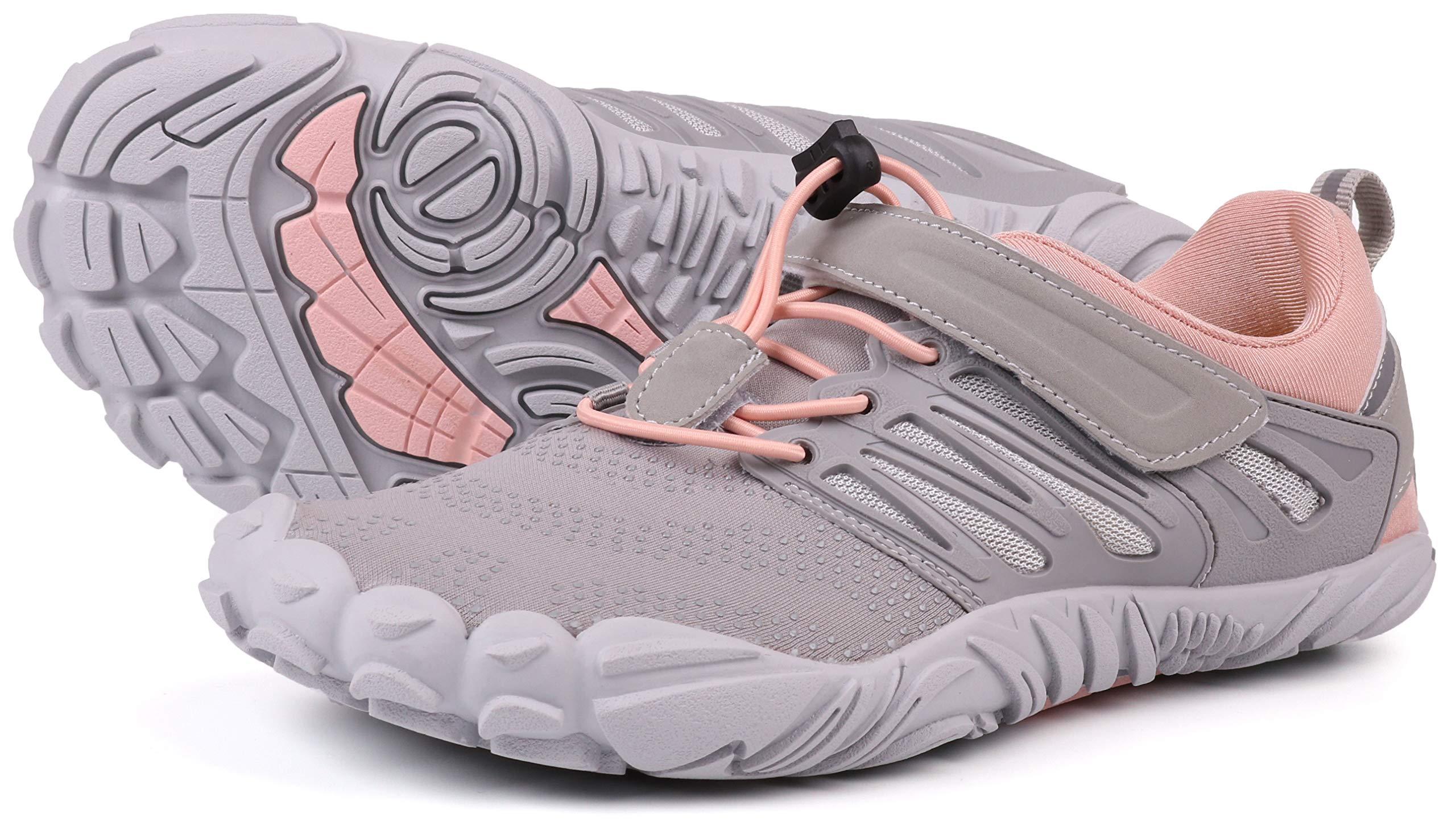 JOOMRA Women's Trail Running Shoes Grey Walking Camping Trekking Toes Five Fingers Ladies Hiking Glove Workout Sneaker Barefoot Walking Footwear Size 7