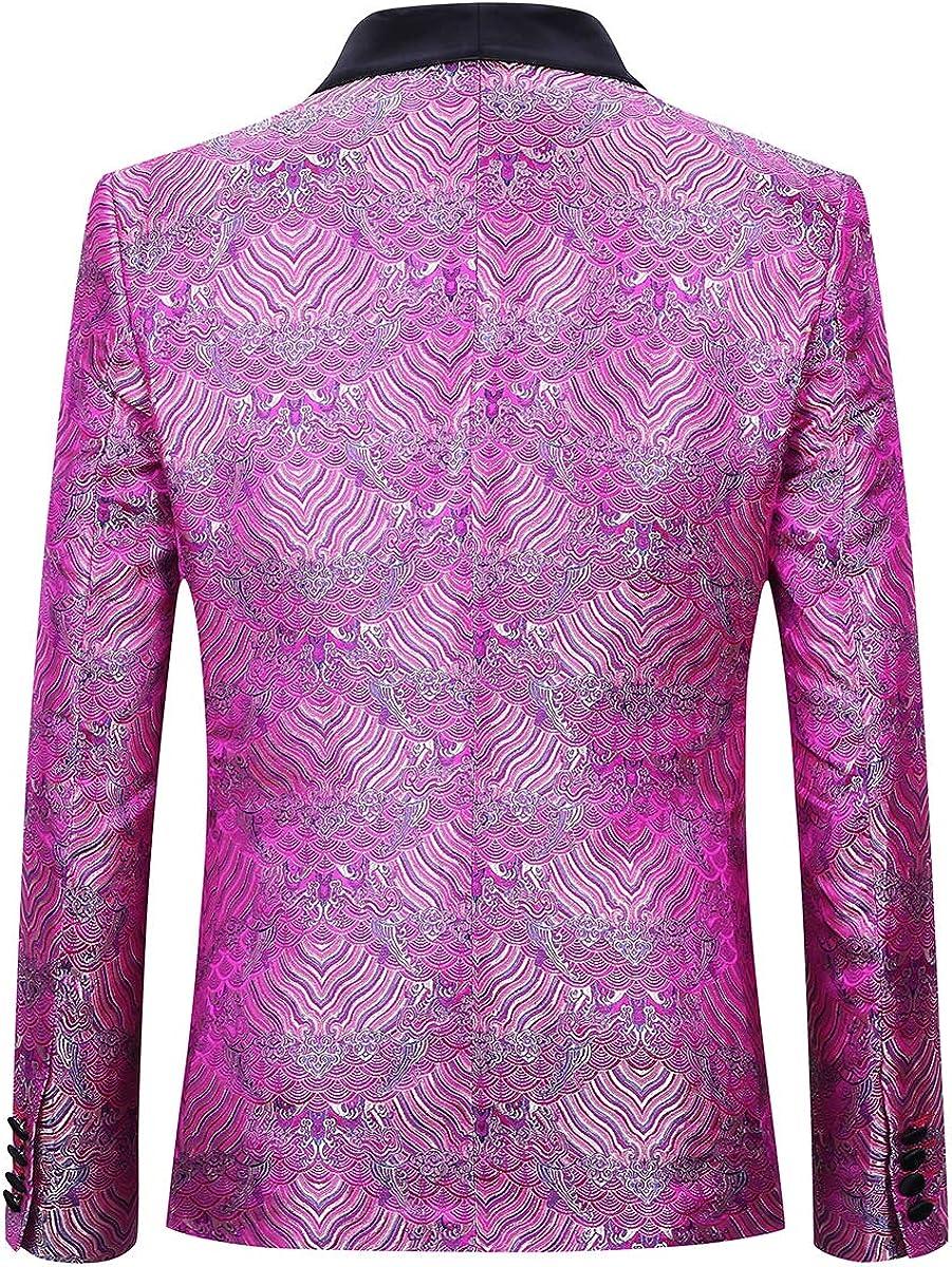 Boyland Mens 3 Pieces Tuxedo Suit Slim Fit Wide Shawl Lapel One Button Formalwear Tux Suit Jacket Vest Pants Party Dinner