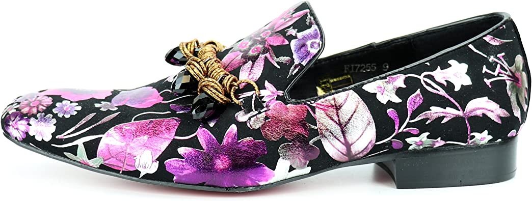 FI-7255 Black//Purple Leather Slip on Loafer Fiesso by Aurelio Garcia