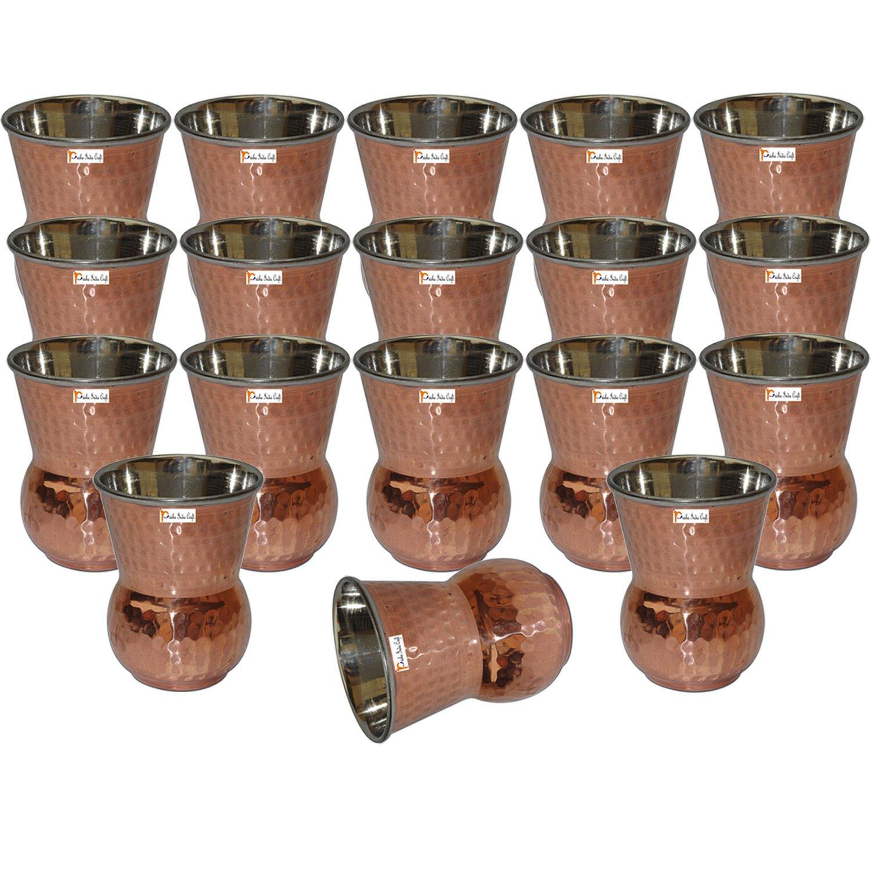 Set of 18 - Prisha India Craft ® Copper Muglai Matka Glass Hammered Style Drinkware Tumbler Handmade Copper Cups - Traveller's Copper Mug for Ayurveda Benefits - CHRISTMAS GIFT ITEM