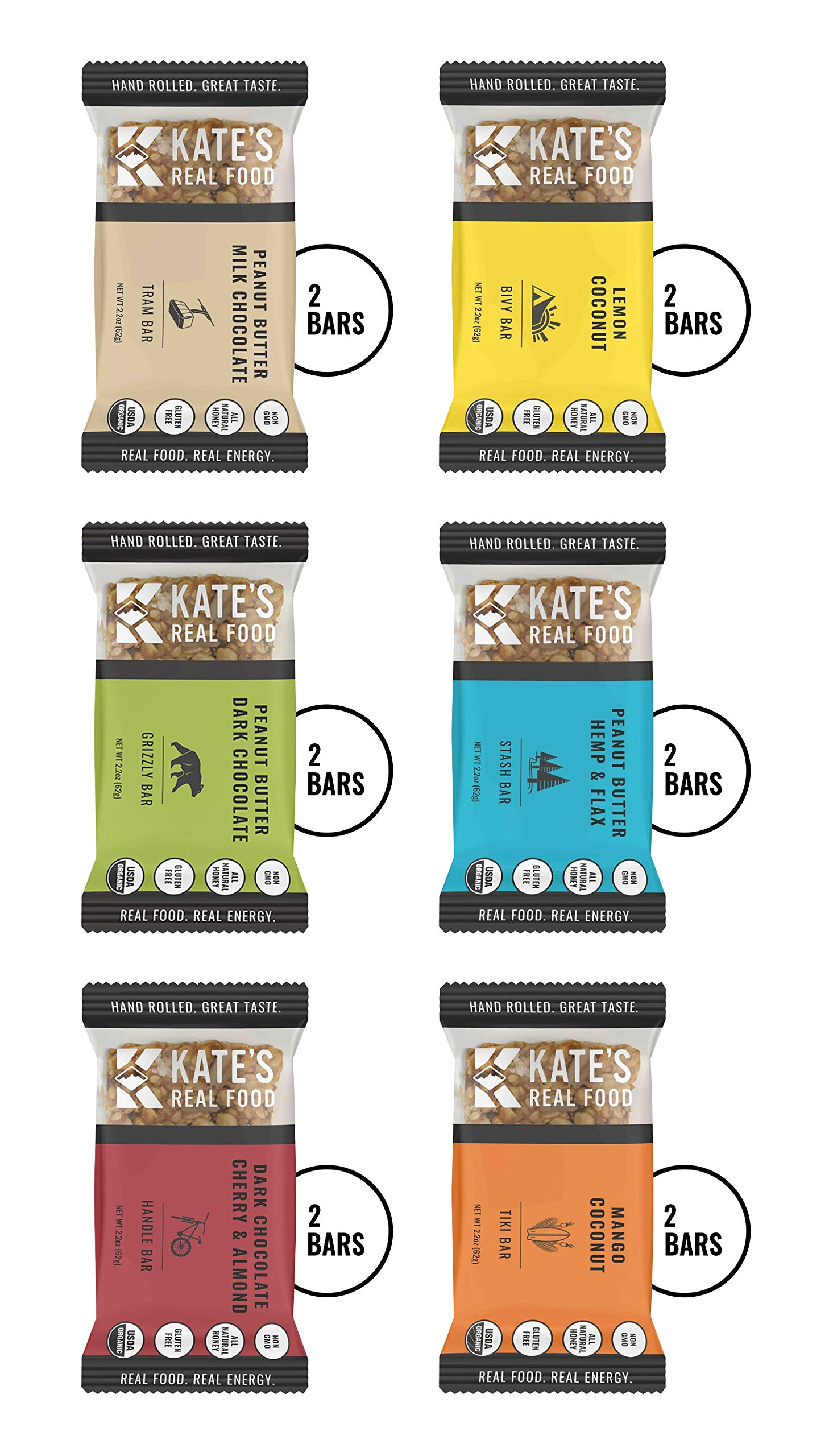 Kate's Real Food Granola Bars 12 Pack   Variety Pack 2 of Each Flavor   Clean Energy, Organic Ingredients, Gluten Free, Non GMO   All Natural Delicious Health Snack by KATE'S