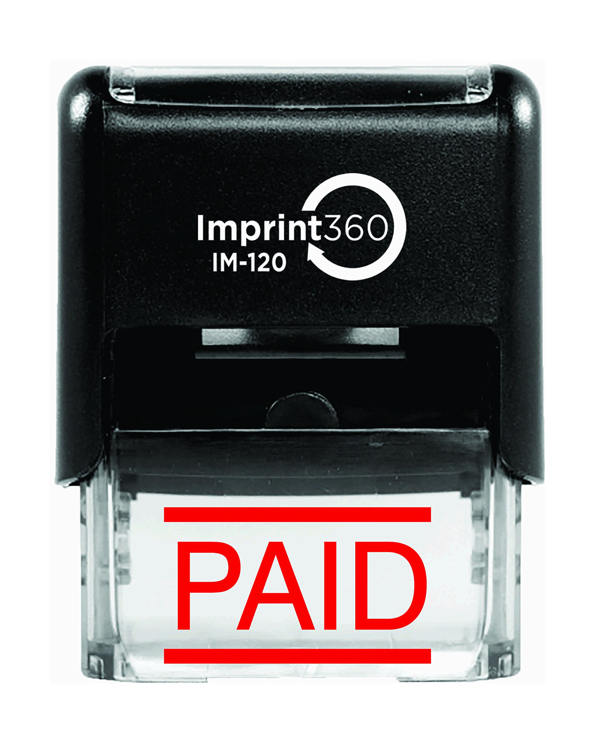 Imprint 360 AS-IMP1046 ''PAID'' Heavy Duty Commercial Quality Self Inking Rubber Stamp, Laser Engraved for Clean, Precise Imprints, 1/2'' Impression Size, 9/16'' x 1'', Red Ink