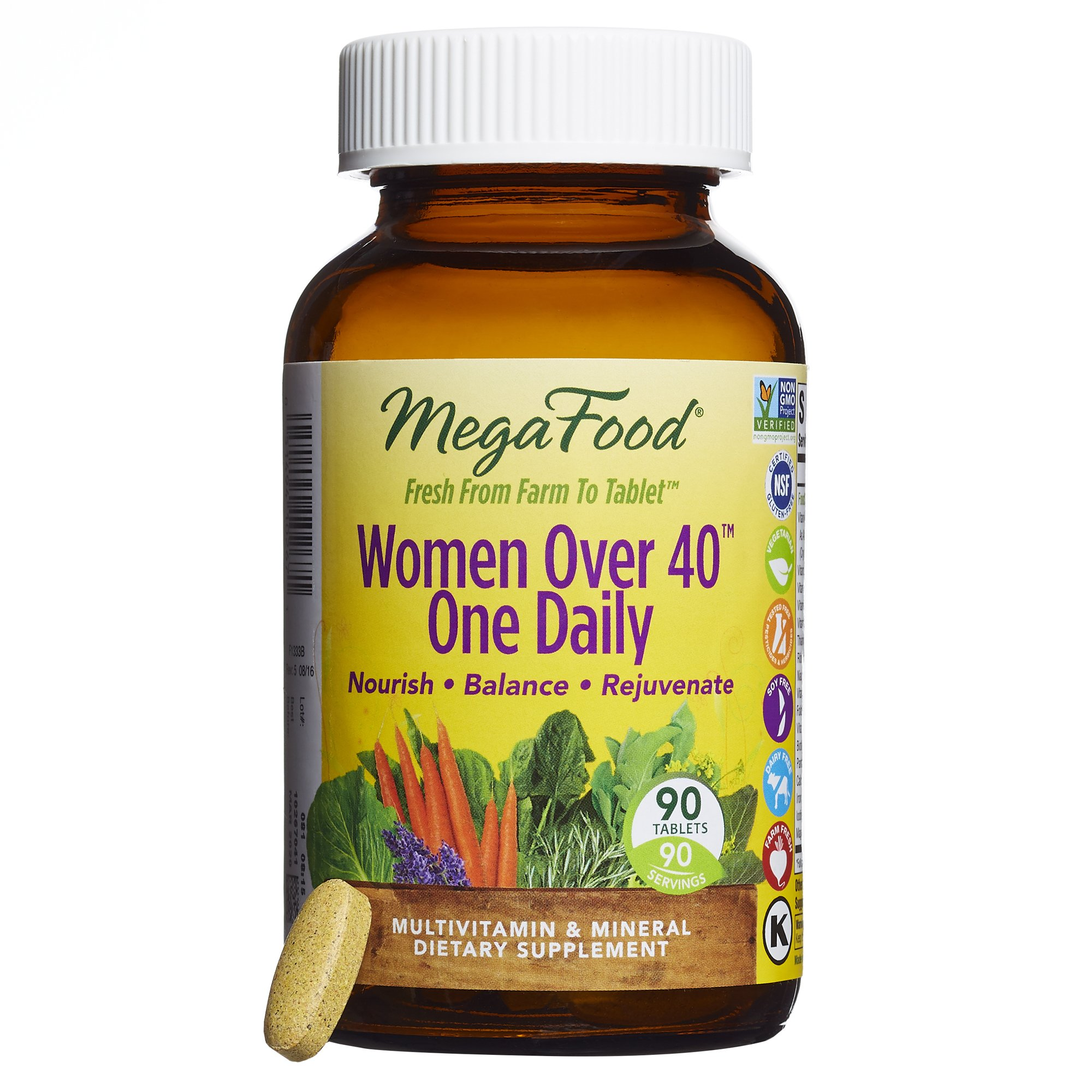 MegaFood - Women Over 40 One Daily, Multivitamin to Support Immune Health, 90 Tablets