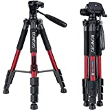 """BONFOTO Q111 55"""" Flexible Lightweight Travel Camera Tripod 4S Stand With 1/4 Mount 3-Way Pan Head And Phone Holder Mount For Smartphones And Dslr Eos Canon Nikon Sony Samsung(Red)"""