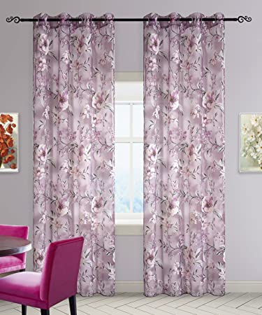 Amazon.com: DEZENE Floral Tulle Curtains for Girls Bedroom Window ...