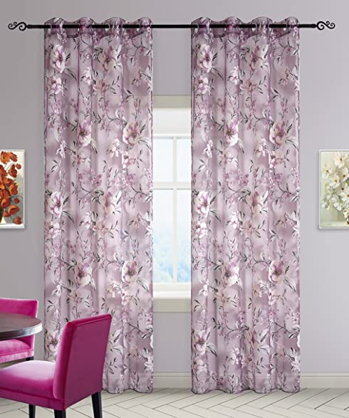DEZENE Floral Tulle Curtains For Girls Bedroom Window Treatments Drapes Panel Sheer Curtain With Grommets