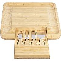 Tabla de queso de bambú natural y plato