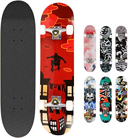 Smibie Skateboards Pro 31 inches Complete Skateboards for Teens Beginners Girls Boys Kids Adults 7 Layer Maple Wood Skateboard