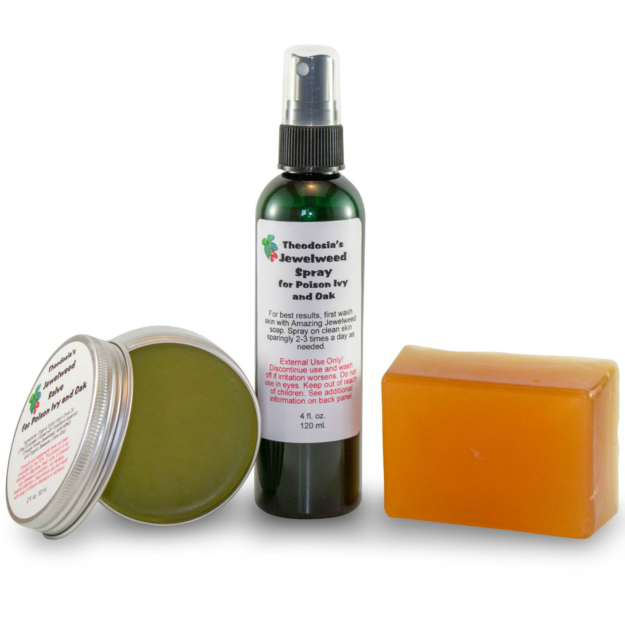 Jewelweed Soap Spray and Salve - Itch Relief of Poison Oak and Sumac by Theodosia