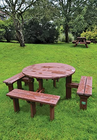 Adult Olympic Round Picnic Bench Table Weatherproof Recycled Plastic - Recycled plastic round picnic table