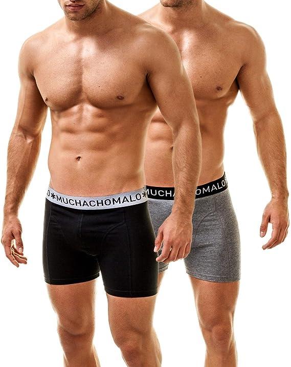 Muchachomalo Hombre Boxershorts Boxer Pack de 2, Nero-Gris, Medium: Amazon.es: Ropa y accesorios