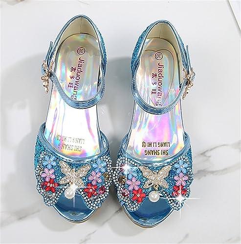 YOGLY Sandalias de Niña Princesa 2018 Sandalias de Tacón Alto Niñas Zapatos de Dulce Moda Flor abalorios Disfraz Princesa Fiesta Cumpleaños Cosplay: ...