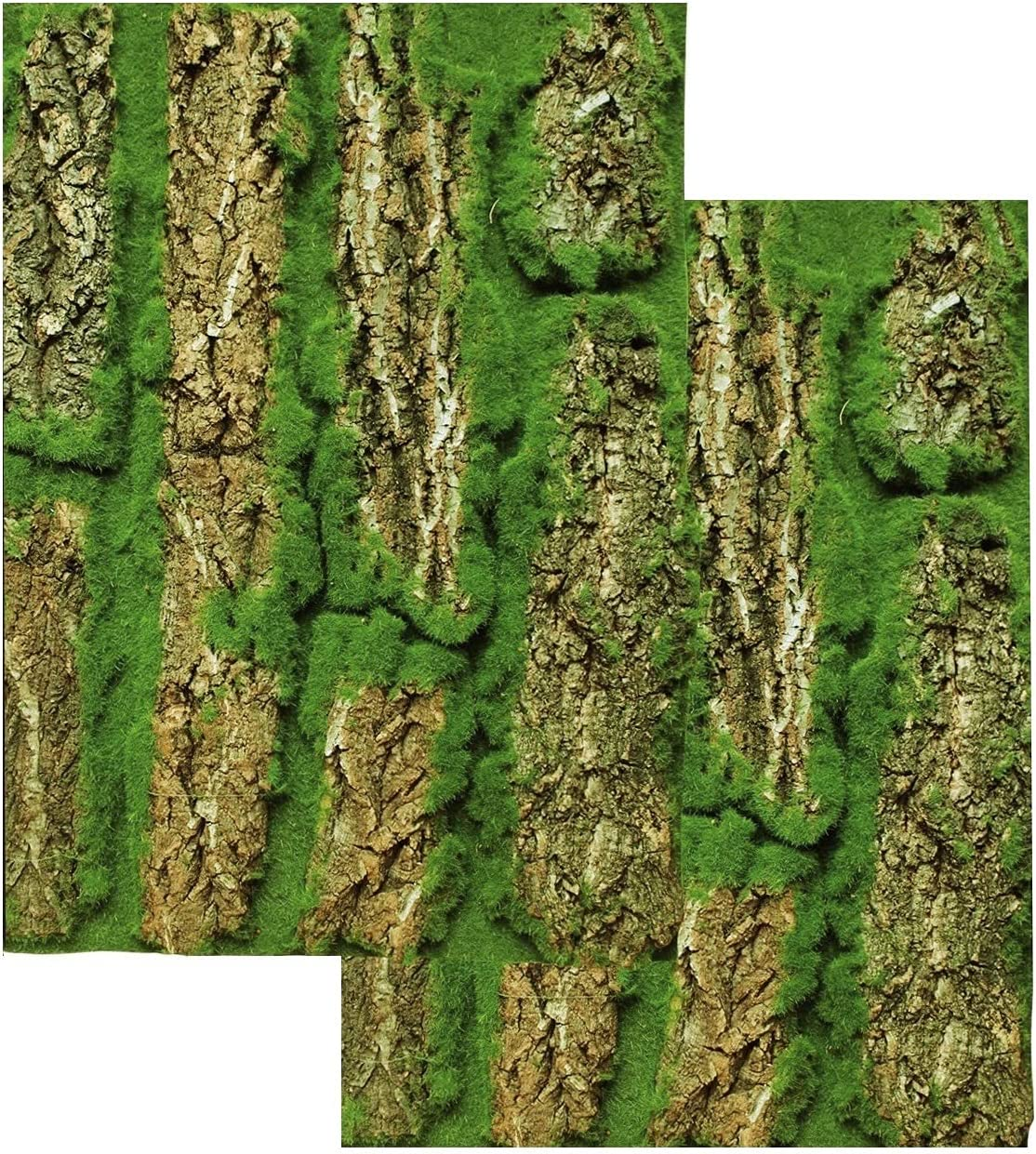 FUNORNAM Natural Bark with Artificial Moss Backdrop Decor for DIY Photo Frame Wall Art Home Decoration (2Pcs)