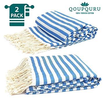 Amazon.com: Juego de 2 toallas Peshtemal 100% algodón turco ...