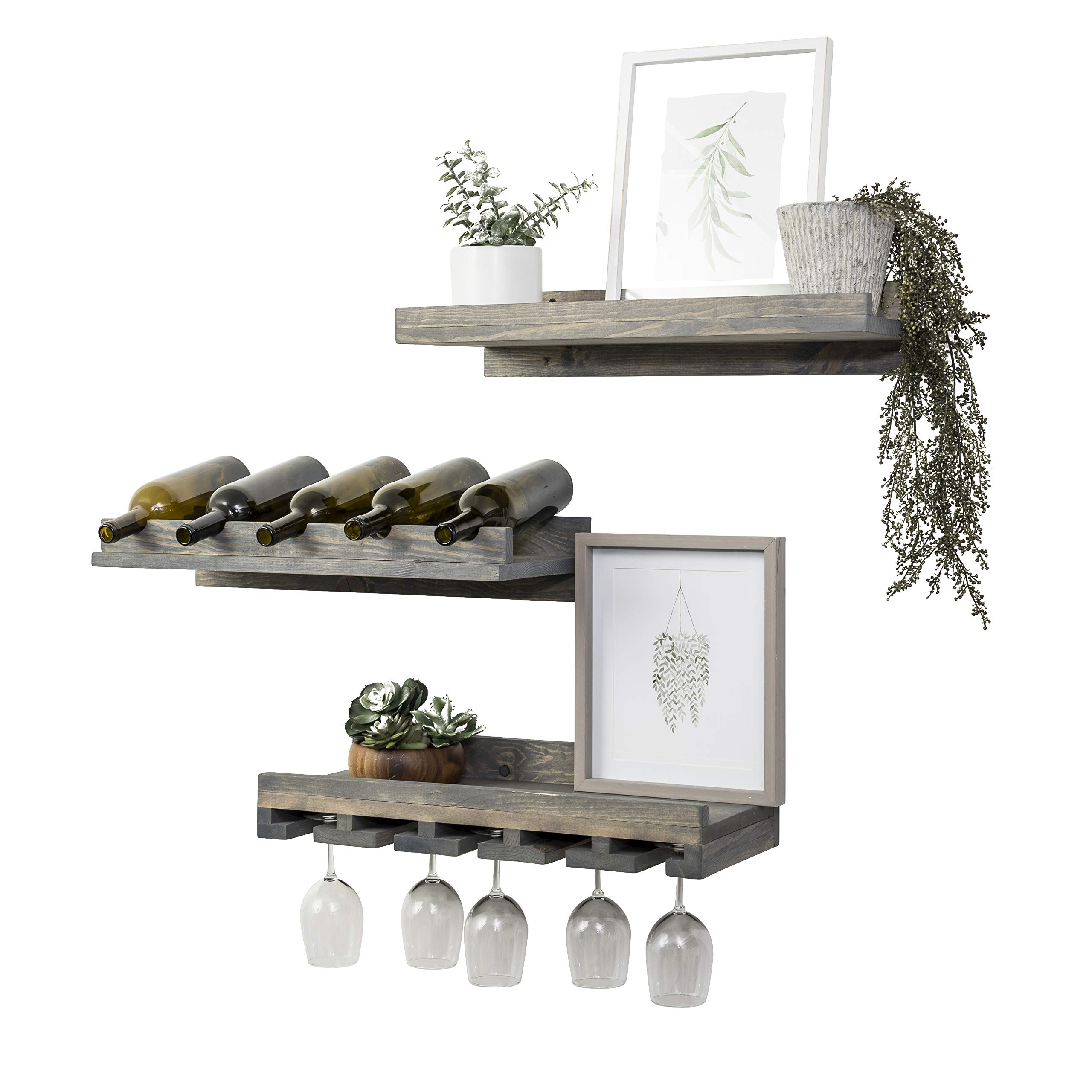 Del Hutson Designs Rustic Handmade Wooden Wall Mounted Three Tiered Wine Rack 24'' (Grey)