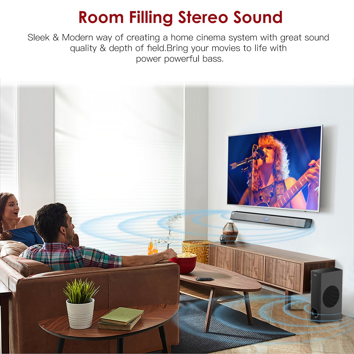 Sound Bar with Subwoofer, ABOX Soundbar for TV 34 Inch 120W 2.1 Channel Speaker, Wireless & Wired Bluetooth 4.2 Sound Bars, Home Theater Surround Sound, Touch and Remote Control, Wall Mountable by GooBang Doo (Image #7)