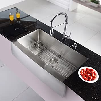 Kraus Khf200 36 Kpf1612 Ksd30ch 36 Inch Farmhouse Single Bowl Stainless Steel Kitchen Sink With Chrome Kitchen Faucet And Soap Dispenser Amazon Com