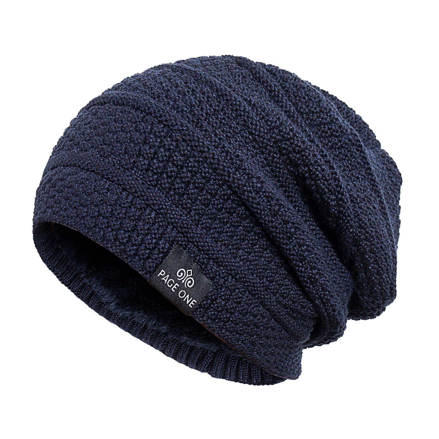 b826571296b PAGE ONE Mens Winter Warm Knit Hat Soft Fleece Lined Stretch Slouchy Skully  Striped Beanie Men Women(Navy) at Amazon Men s Clothing store