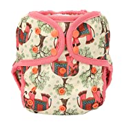 One Size Cloth Diaper Cover Snap With Double Gusset (Red Elephant)
