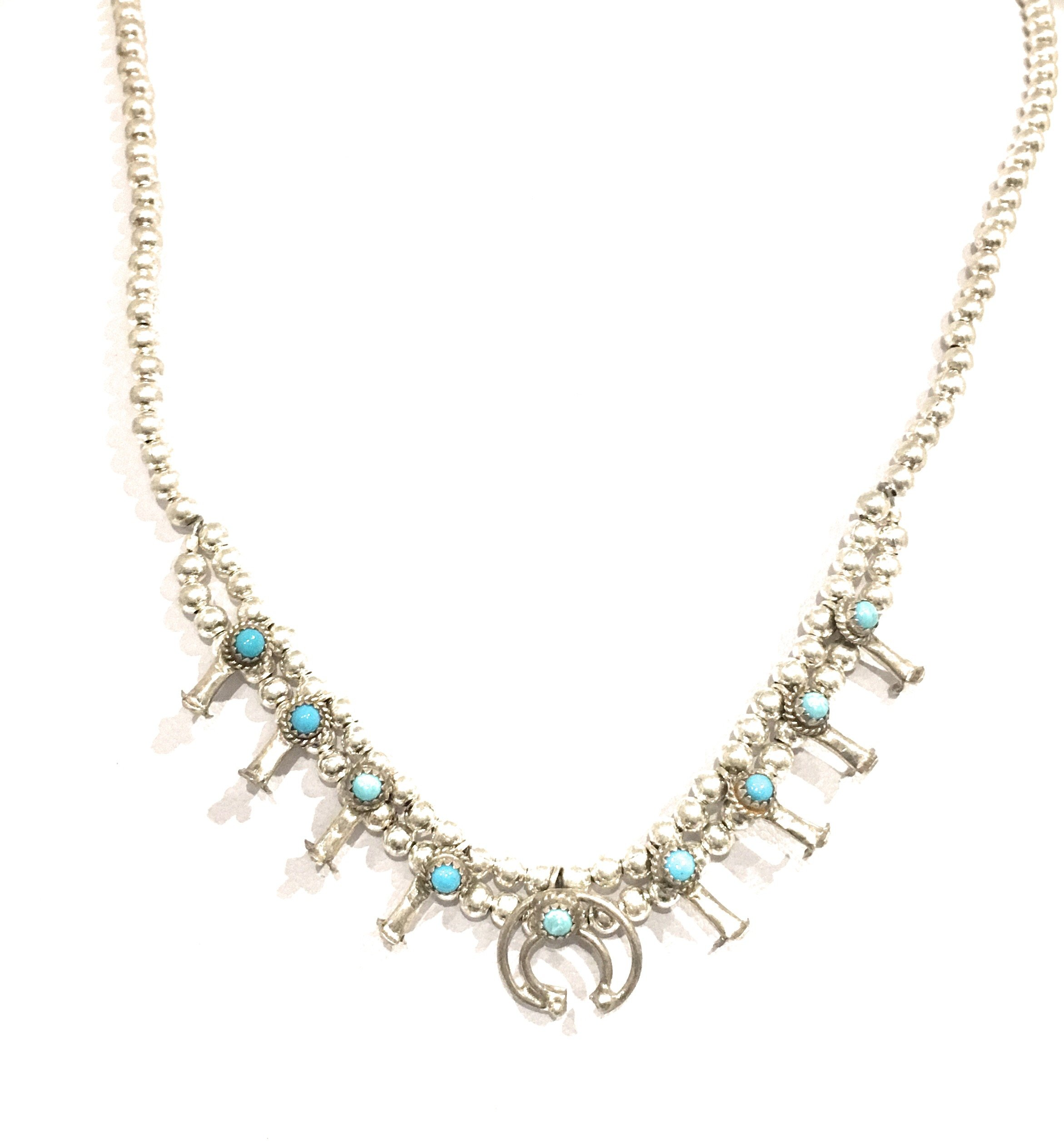 Masha Mashasilver Easter Special ! Sterling Silver Necklace By Squash Blossom SB Turquoise, Made in USA - Exclusive Southwestern Handmade Jewelry, 16.5'' in Length Gift